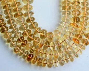 AAA+ quality gemstone  8 inch long strand smooth CITRINE rondelles beads 6--11 mm