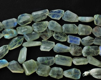 8 inch long strand faceted RAINBOW MOONSTONE  nuggets beads 10 x 14 -- 13 x 20 mm