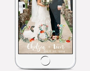 Floral wedding geofilter, custom wedding geofilter, floral lettering, personalized snapchat geofilter