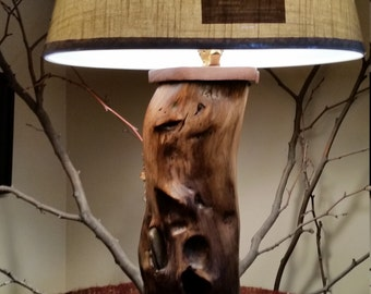 Reclaimed  Wood Table Lamp with Embedded Stones