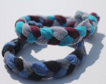 2 Pack of Up-cycled Handmade Braided Fabric Bracelets (Aqua, Magenta, Grey & Black, Blue, Dark Grey)