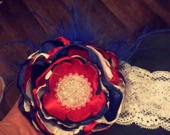 Fourth of July flower headband