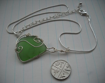 Green sea glass wire warapped necklace