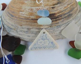White and Blue Scottish Sea Pottery Pendant