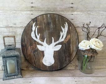 Rustic Wood Deer Head Sign | Reclaimed Wood Sign | Home Decor | Weathered Decor| Nursery Decor