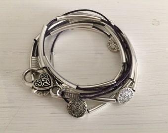 Dark purple silver tube wrap bracelet silver tube bracelet stackable bracelet gift for her