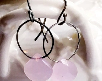 Pink Chalcedony Oxidized Hammered Sterling Silver Hoop