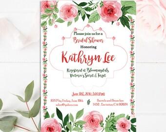 Floral Bridal Shower Invitation, Printable Bridal Invite, Pink Bridal Shower Invitation,Mint teal pink Bridal Shower Invite Rose Gold Invite