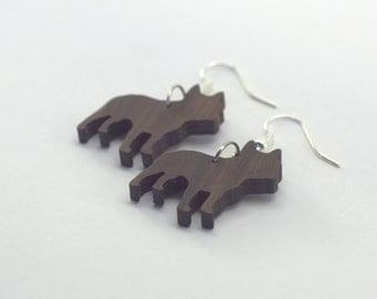 French Bulldog - earrings in precious Pau Ferro Holz