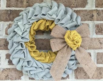 Grey and yellow burlap wreath