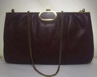 Vintage Faigen Burgundy Leather Clutch