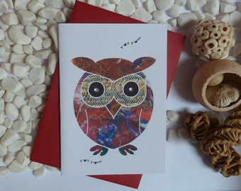 Owl Greeting card, Owl illustration, Card for the owl lovers, gems, A6