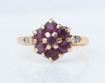 Vintage Ruby Cluster Ring