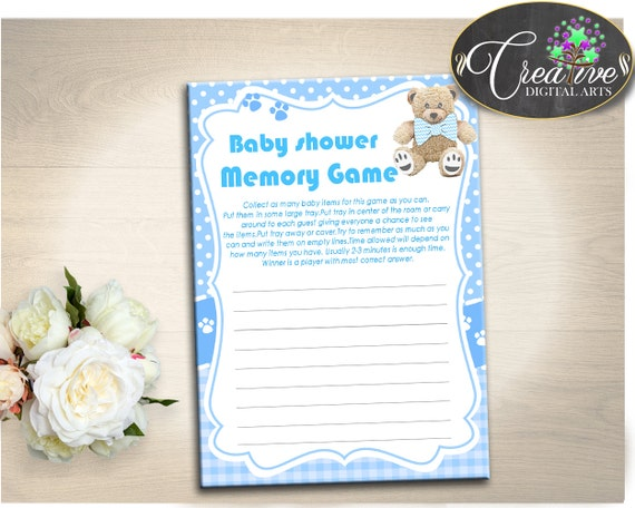 baby shower stuffed baby shower pooh remember things to do memory game