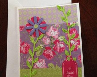 Birthday card, Floral card, Paper card, Handmade card