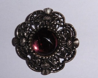 Vintage Dark Metal Brooch with centre stone