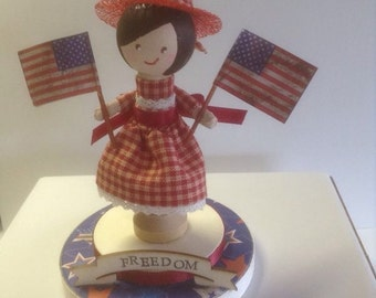 Freedom patriotic clothespin doll