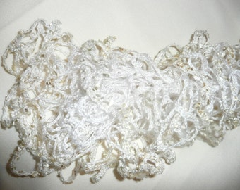 Lightweight Lace Scarf - White and Cream