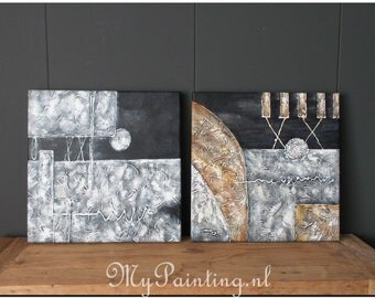 Abstract modern painting diptych in natural colours black white grey and Brown on 3D frames