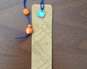 Tan Leather Bookmark