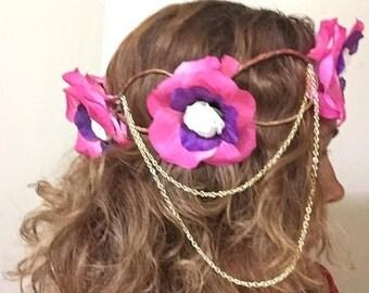 Pink flower head crown