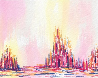 Original abstract watercolor painting-Color theme: blue, yellow, red and orange (#04)