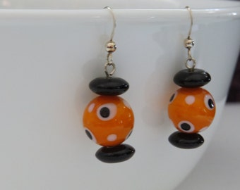 Fun, Fall, and Fabulous Orange & Black Dangle Earrings with Sterling Ear Wires