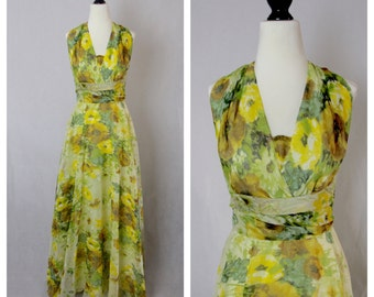 The Nicolette- Vintage 1960's foral maxi dress by Fred Perlberg