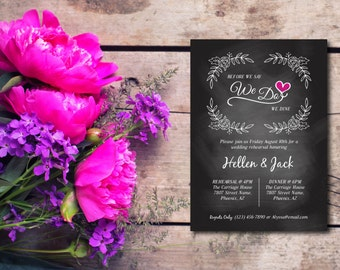 Rehearsal Dinner Invitation, We Do Party Invitation, Rustic Chalkboard, Template, Invite, EDITABLE PDF, DIY, Printable Instant Download E47A