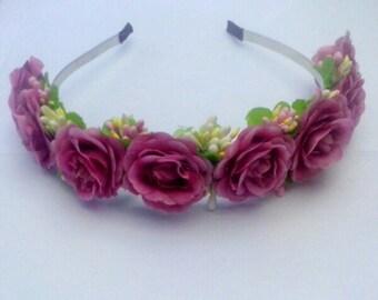 flower headband purple Burgundy accessory