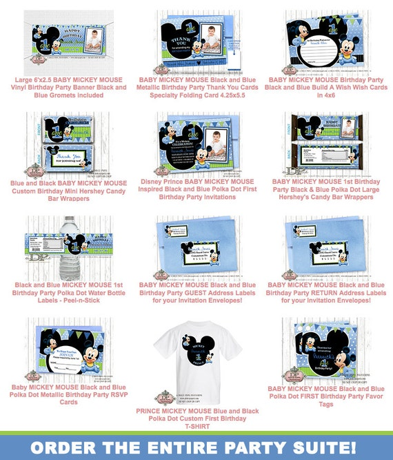 10 BABY MICKEY MOUSE 1st Birthday Party Blue Green Polka Dot – Baby Mickey First Birthday Invitations