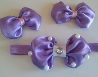 Purple silk bows!
