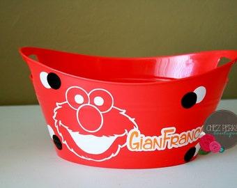 Personalized Bucket , Elmo  , birthday gift , Gift basket