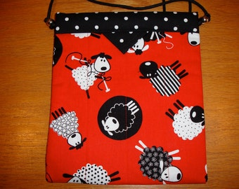 Knitting Sheep, Snap Bag, Cross Body Bag, Novelty, Great Gift Idea, Handmade, Shoulder Bag