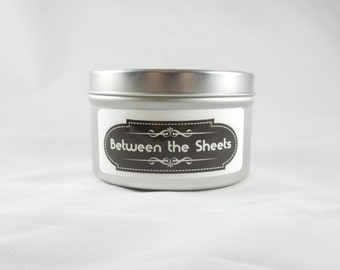 Clean Laundry 8oz Soy Aromatherapy Candle: Between the Sheets. Scented Handmade Candle. Fun Gift idea.