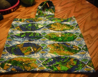 Canvas Bag  Green and Blues