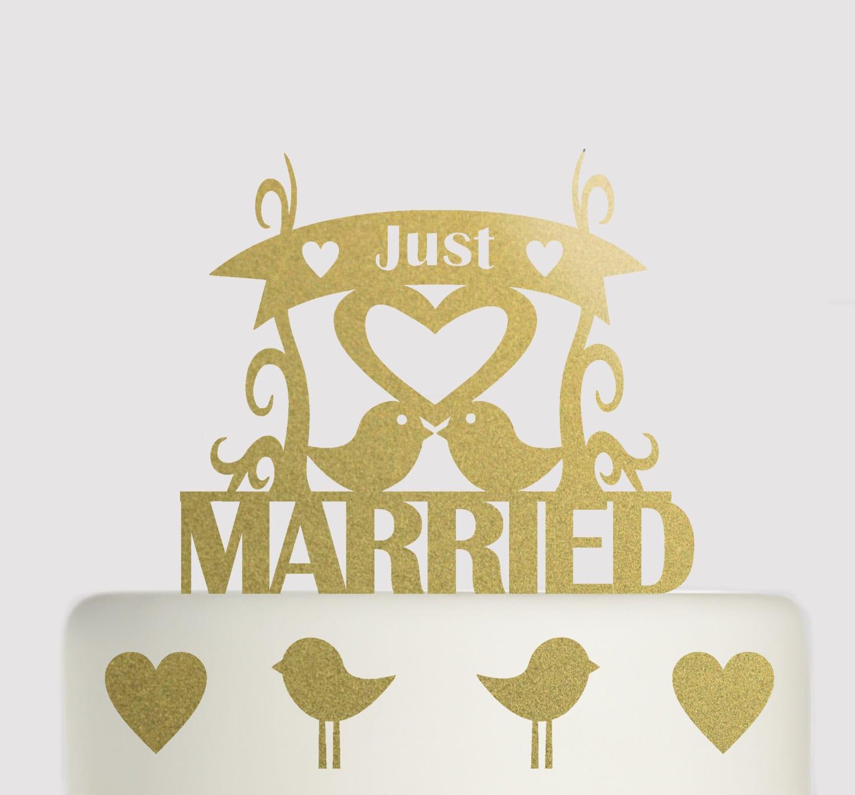 Large Wedding Cake Topper - Just Married Love Birds Wedding Topper ...