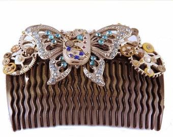 Butterflies in your Hair - Steampunk Hair Comb /  Headpiece