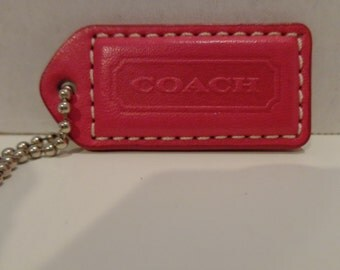 Coach Pink Fuchsia and Natural Vachetta Leather Hangtag