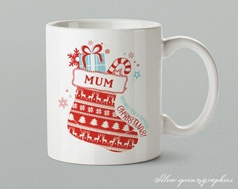Name - Wishing You A Merry Christmas - Personalised Christmas Gift Mug