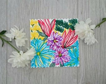 Floral, hand drawn, one of a kind greetings card. Fit for any occasion!