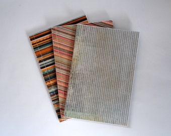 Trio of Stab Bound Striped Sketchbooks, Notebooks, Journals