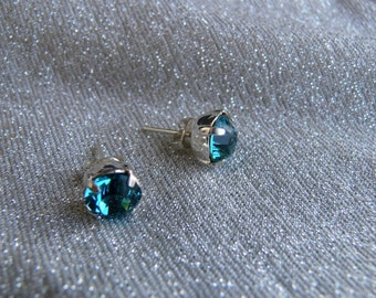 "Swarovski Crystal 925 Silver earrings and ""indicolite"""