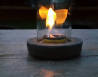 Tabletop Fire Latern from Wine Bottle
