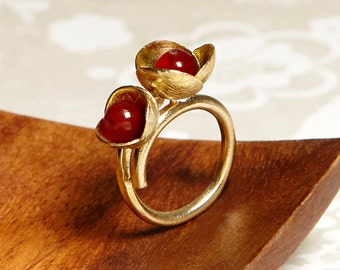 Ring of bronze double flower (Jade or carnelian or Freshwater Pearl)