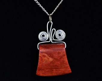 Red Coral Wire Pendant