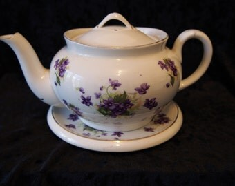 Teapot & Stand Grindley/Meakin 1920's - violets decoration