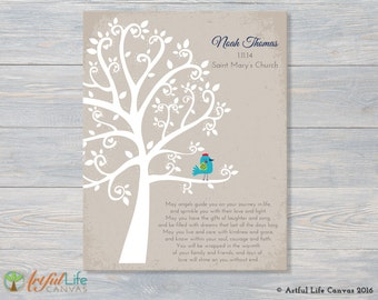 BOY BAPTISM GIFT, Godson Baptism Gift from Godparents, Godchild Baptism Gift, Baptism Tree, Christening Gift, Wrapped Canvas Art