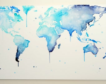 World Map // 'Why So Blue?' Hand Painted Canvas // Wall Art