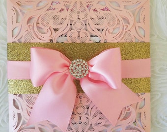 Gold and pink laser cut invitation...